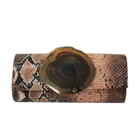 Jeweled Brown Python Clutch
