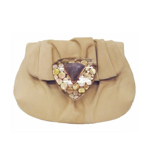 Beige Draped Clutch