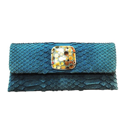 Teal Pearl Python Clutch