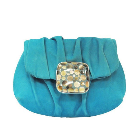 Turquoise Draped Clutch