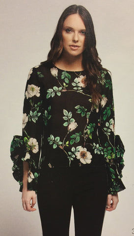 Black-Green Floral Top