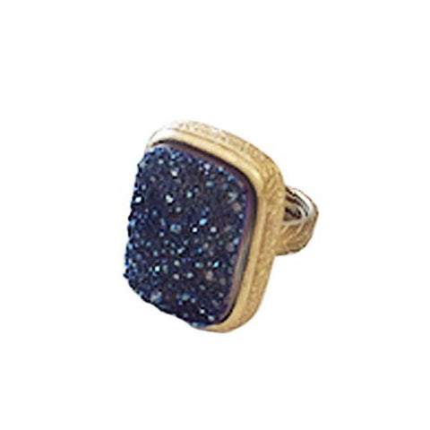 18K GP Navy Druzy Ring