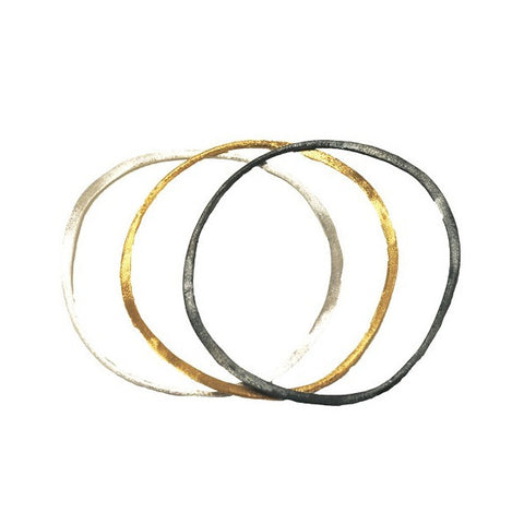 Hammered Silver Thin Bangles
