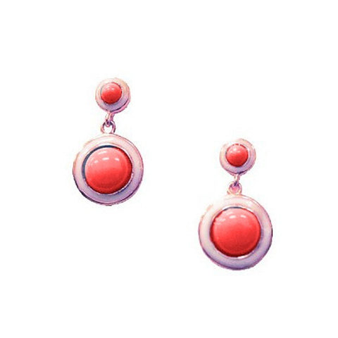 Rose GP Red Round Drop Earrings