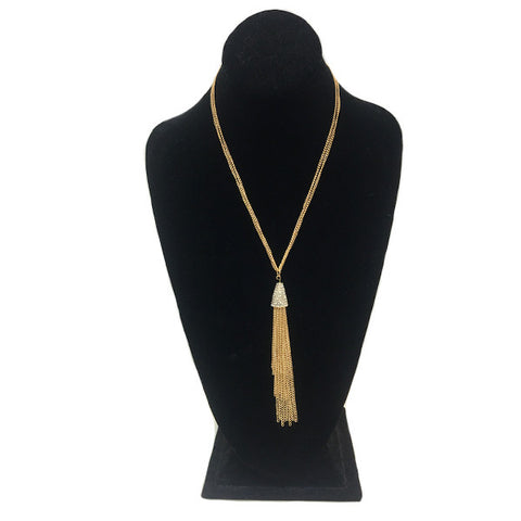 Swarovski Studded Tassel Necklace
