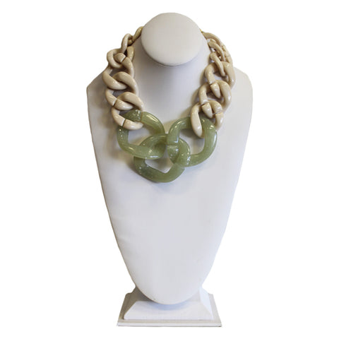 Lucite Link Necklace - Green & Cream