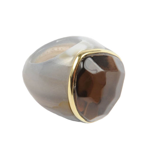 18K GP Rimmed Dome Agate Ring