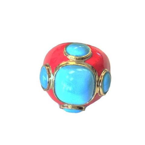 18K GP Round Red & Turquoise Ring
