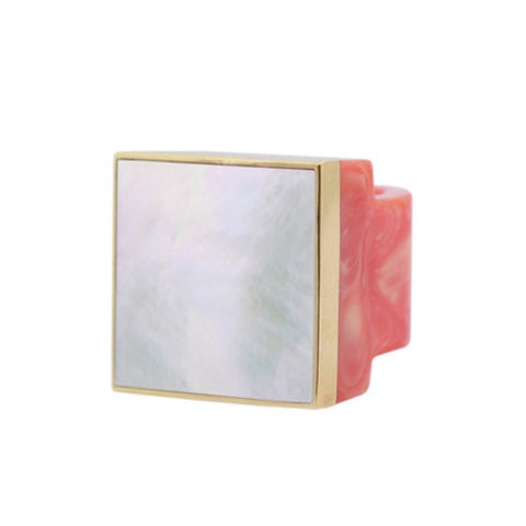 Coral Square Mother of Pearl Ring