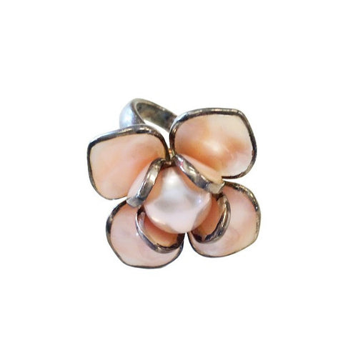 Pink Pearl Flower Ring