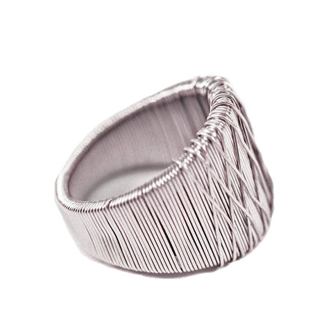 Silver Crosswire Ring