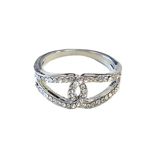 Silver Crystal Loop Ring