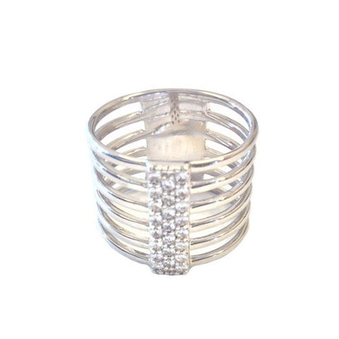 Silver Layered Band Ring