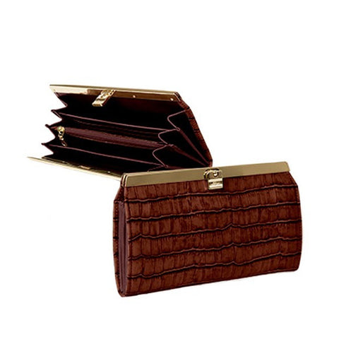 Cate Crocodile Accordion Wallet
