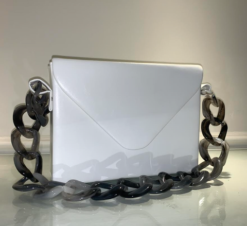 White Purse with Chain Strap