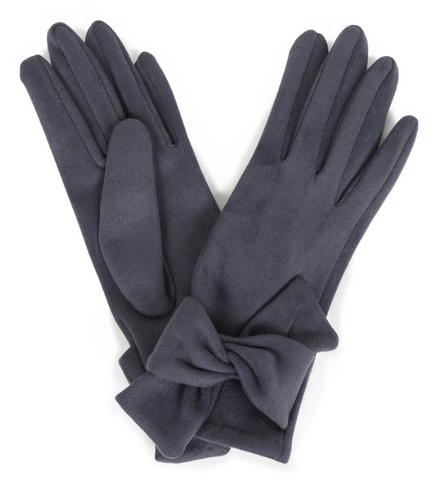 Suede Gloves with Bow