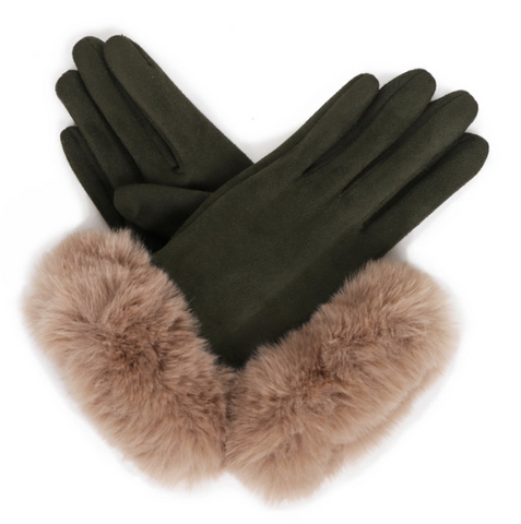 Suede Gloves with Faux Fur Trimming