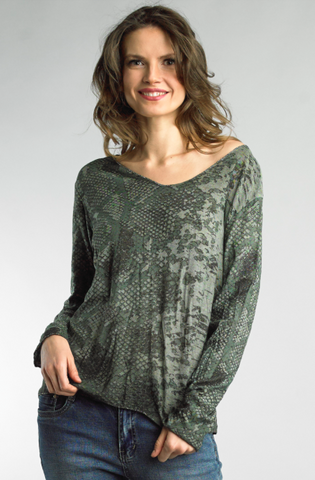 Olive Snake Print Long Sleeve