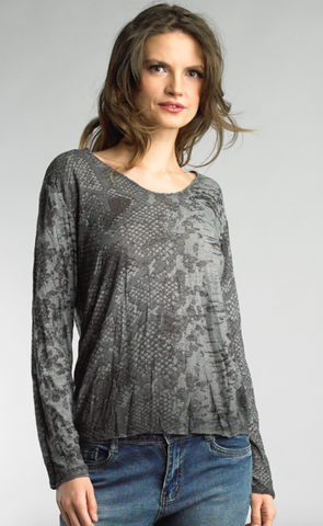 Grey Snake Print Long Sleeve