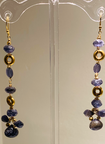 Blue Lolite and Gold Dangle Earrings