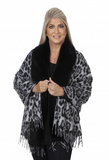 Animal Print Wrap with Fur Trim