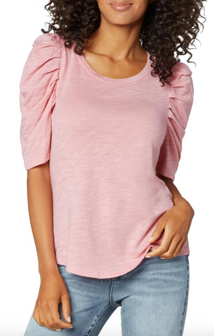 Blush Gathered Short Sleeve Knit Tee