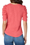 Coral Gathered Short Sleeve Knit Tee