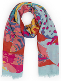 Feather Print Scarf - Blue