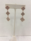 Rose Gold Clover Triple Drop Earrings