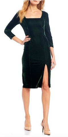Square Neck Stretch Velvet Sheath Dress