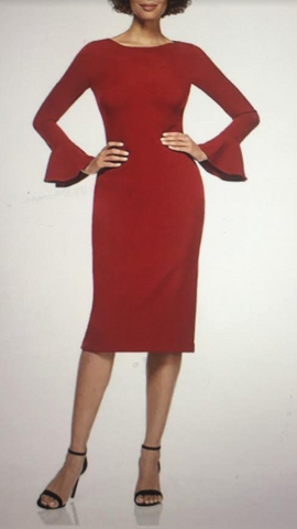 Apple Red Dress with Flare Sleeves