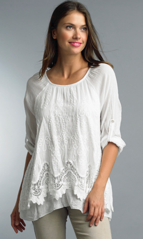 White Embroidered Top- Cotton
