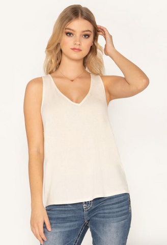 White Tank with Crochet Back
