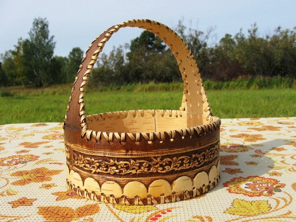Hand crfated Siberian Birch Bark basket