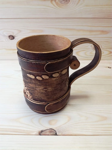 Hand crfated birch bark mug