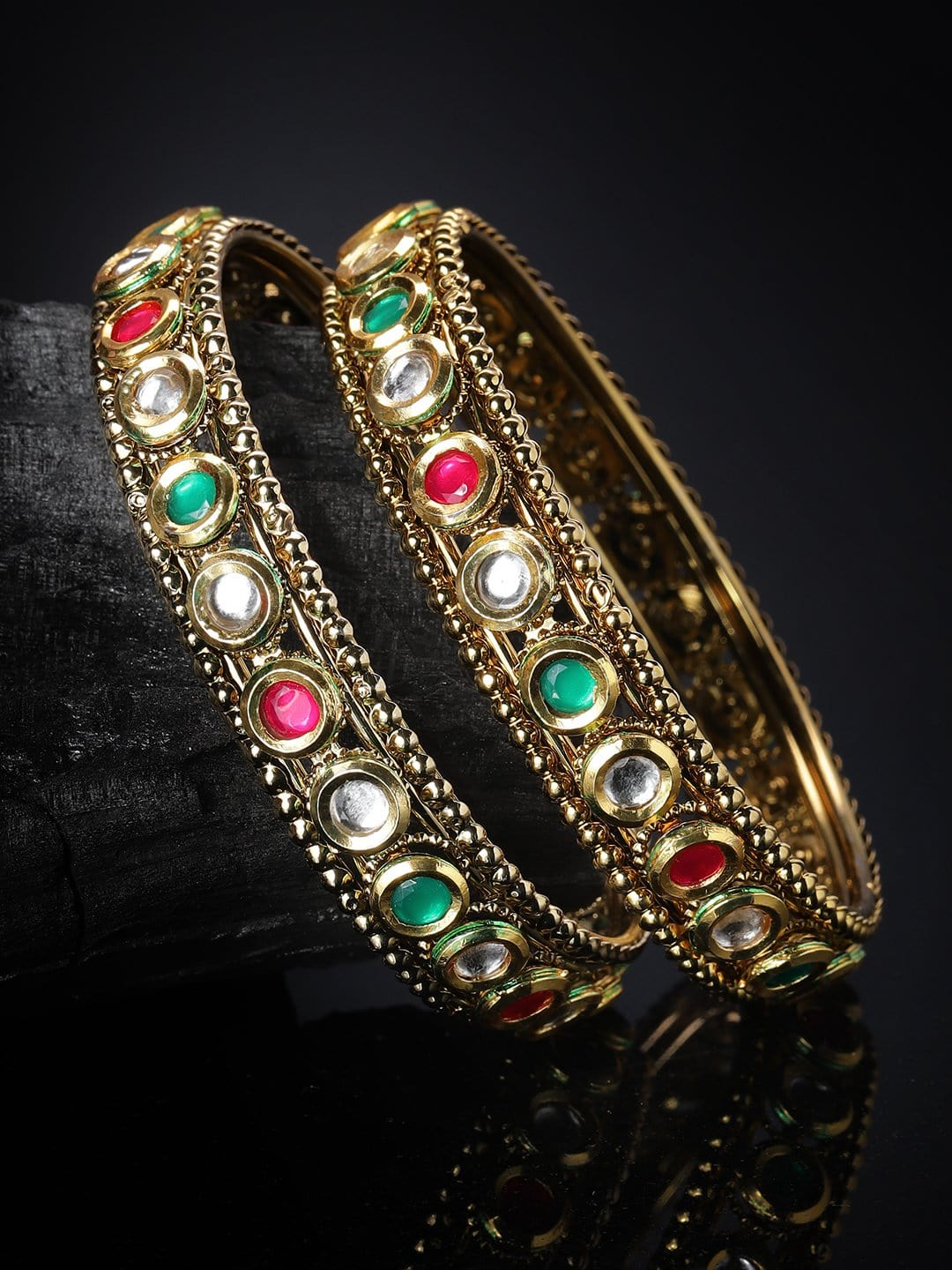"Copy of ""Rubans Gold Plated Set Of 2 Ruby And Emerald Studded Bangles"" Earrings"