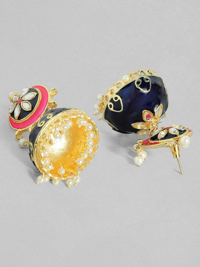 Rubans 22K Gold Plated Handcrafted Enamel with Kundan Jhumka Earrings Earrings