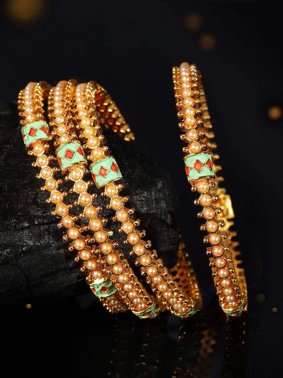 Rubans 22K Gold Plated Handcrafted Enamel with White Pearls Set of 4 Bangles Bangles & Bracelets