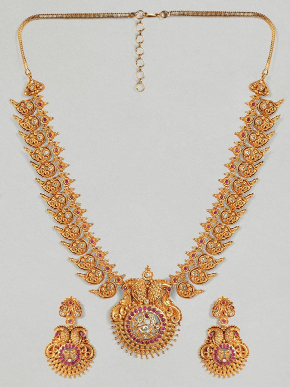 Rubans 22K Gold Plated Handcrafted  Faux Ruby & Filigree Traditional Necklace Set Necklace Set