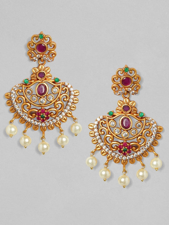 Rubans 22K Gold Plated Handcrafted Faux Ruby with White Pearls Chandbali Earrings Earrings