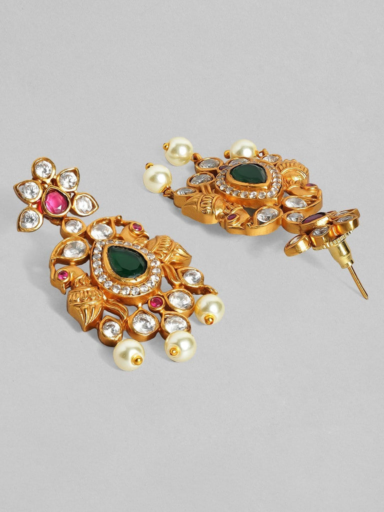 Rubans 22K Gold Plated Handcrafted Faux Ruby with White Pearls Drop Earrings Earrings