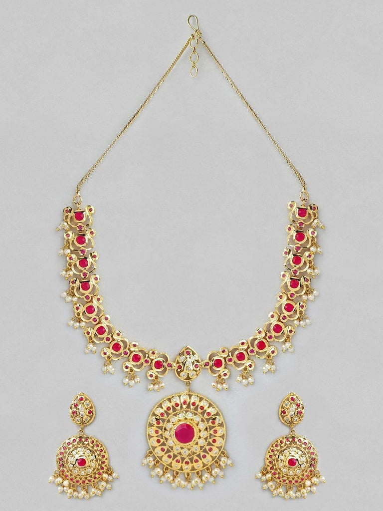 Rubans 22K Gold Plated Handcrafted Red Stone Necklace Set Earrings