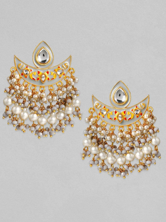 Rubans 24K Gold Plated Handcrafted Kundan & Enamel with White Pearls Chand Bali Earrings Earrings