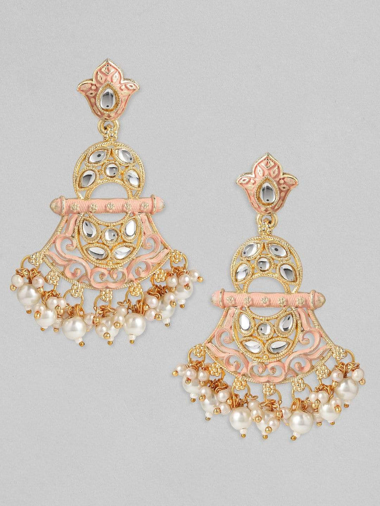 Rubans 24K Gold Plated Handcrafted Kundan & Pink Enamel with White Pearls Drop Earrings Earrings