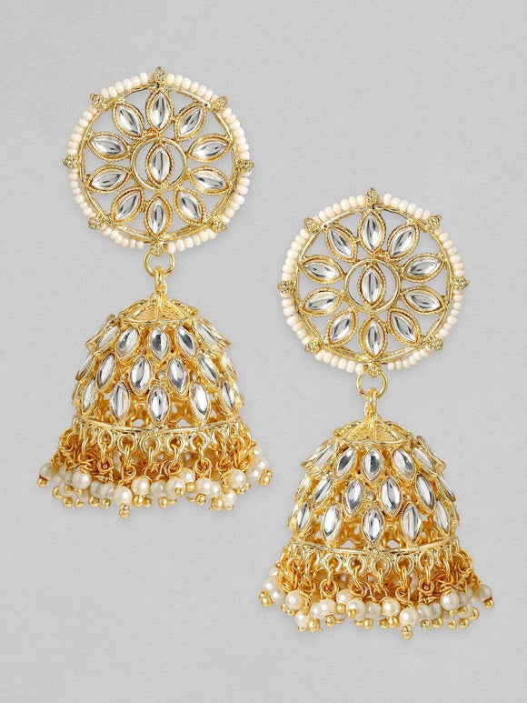 Rubans 24K Gold Plated Handcrafted Kundan with White perals Jhumka Earrings Earrings