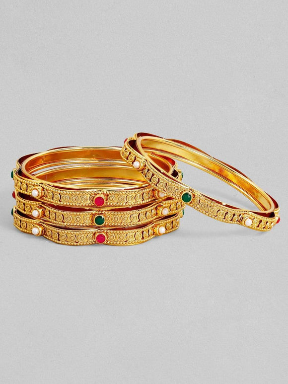 Rubans 24K Gold Plated Handcrafted Ruby Stone Filligree Set of 4 Bangles Bangles & Bracelets