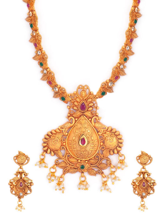 Rubans Antique Gold Plated Faux Ruby Studded Traditional Necklace Set Necklace Set