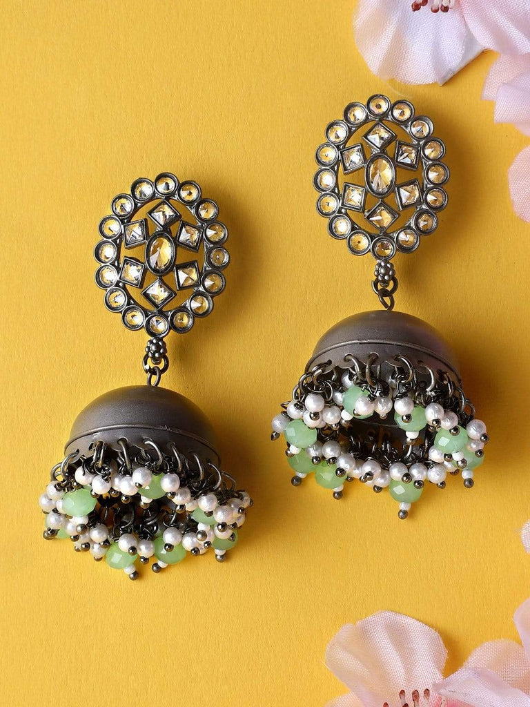 Rubans Black Metal Handcrafted Kundan Statement Jhumka Earrings Earrings