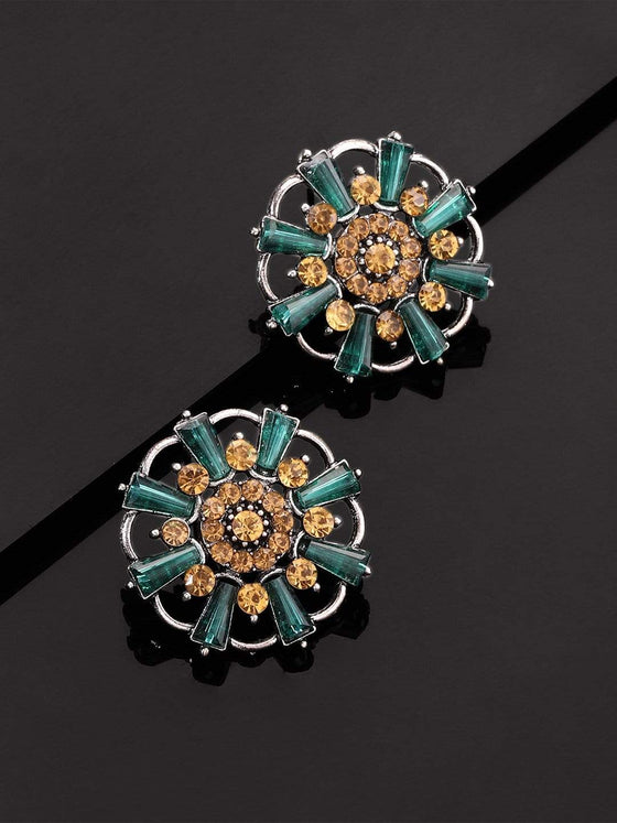 Rubans Crystal Blue and Pink Studded Silver Plated  Handcrafted Floral Stud Earrings Earrings