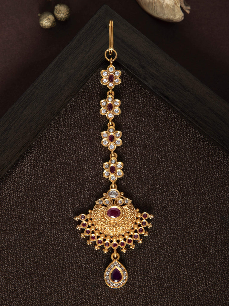 Rubans Finely Handcrafted Gold Plated CZ And Ruby Studded MaangTikka HEAD JEWELLERY